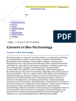 Careers in Bio Technology