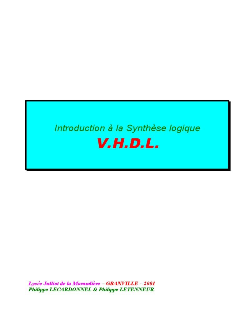 vhdl introduction a la synthese logique