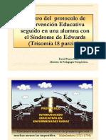 Registro del protocolo de Interv. Ed alumna Síndrome de Edwards