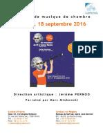 Dossier de Presse Les Vacances de Haydn 2016