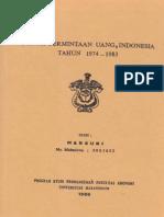 Skripsi  S1 Fungsi Permintaan Uang, Indonesia Tahun 1974 - 1983 Oleh Marsuki Ph.D