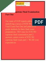STR 581 Capstone Final ExamPart One/1 & STR 581 Capstone Part 1 Answers UOP - Studentwhiz
