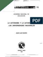 Autarquia y Autonomia de Las Universidades Nacionales