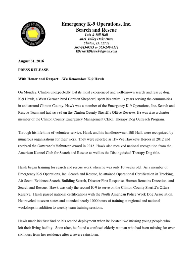 Press Release We Remember K 9 Hawk 2016 Search And Rescue Dog