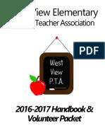 2016-17 West View ElementaryPTA Volunteer Packet