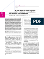 How the Food and Drug Administration Evaluates, Communicates, And Manages Drug Benefit Risk