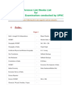 Reference Book List for Civil Services Exam