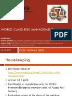 World Class Risk Management Slide Deck