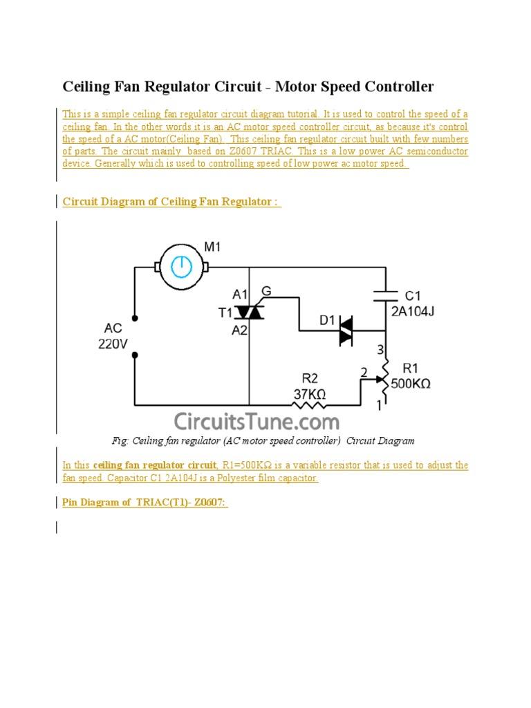 Ceiling Fan Regulator Motor Speed Control Circuit Diagram | #1