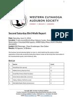 Second Saturday Bird Walk Report June 11, 2016