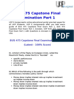 UOP E Assignments   BUS 475 Capstone Final Examination Part 1 Answers Free