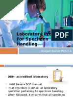 Laboratory Procedure for Specimen Handling