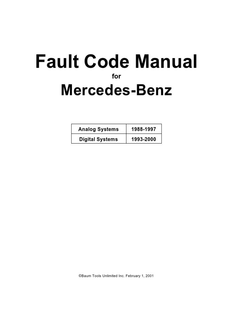 Mercedes benz fault code manual throttle fuel injection for Mercedes benz diagnostic codes