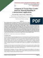 Design & Development of Tractor Rear Loader Arrangement for Material Handling in Constructional Applications