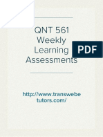 QNT 561 Weekly Learning Assessments Answers for Free - QNT 561 Weekly Learning Assessments at Transweb E Tutors