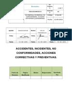 Accidentes Incidentes No Conformidades Acciones Correctivas y Preventivas.