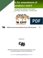 Doporučení sekretariátu CITES k návrhům na přeřazení druhů z I. a II. přílohy úmluvy