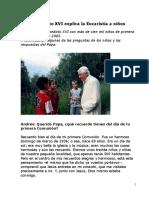 Benedicto XVI Explica La Eucaristía a Niños