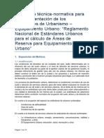 Propuesta de Reglamento para la Implemetnación de Equipamientos Urbanos