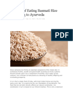 Benefits of Eating Basmati Rice According to Ayurveda