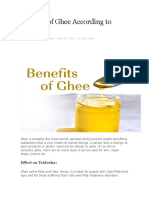 Benefits of Ghee According to Ayurveda