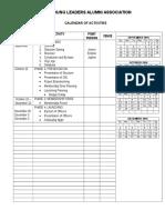 ARC Calendar of Activities