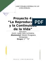 Proyecto 4. La Reproduccion y La Continuidad de La Vida