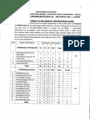 PMMG Telangana post Telangana Circle Recruitment