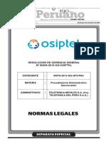 Resolución de Osiptel sobre multa a Telefónica del Perú