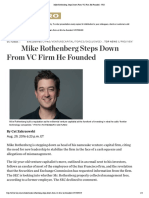 Mike Rothenberg Steps Down From VC Firm He Founded - WSJ