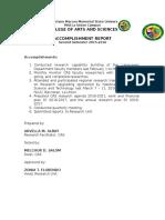 Accomplishment Report RESEARCH