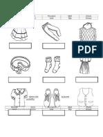 Worksheet Clothing