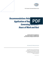 Recommendations Relating to the Application of Requirements Governing Seafarers Hours of Work and Rest Nov 2012