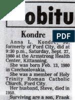 Anna Benyak Kondrc Obit