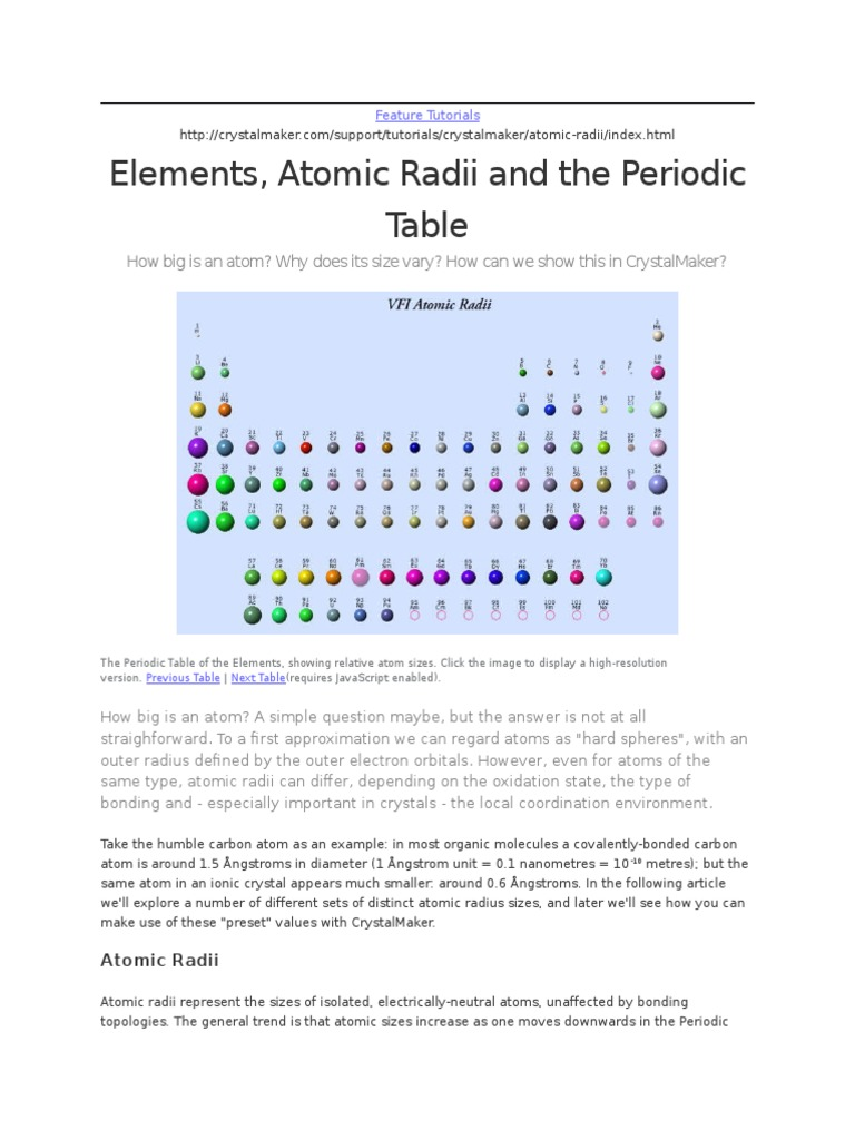 Elements, Atomic Radii and the Periodic Table | Atoms | Atomic