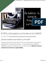 El Proyecto Educativo de Centro y El Proyecto Curricular en La LOMCE