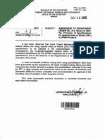 Amendment to DPWH DO no. 212 s. 2001