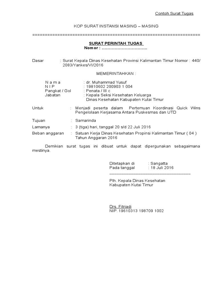 Contoh Surat Tugas Peserta Dan Ns