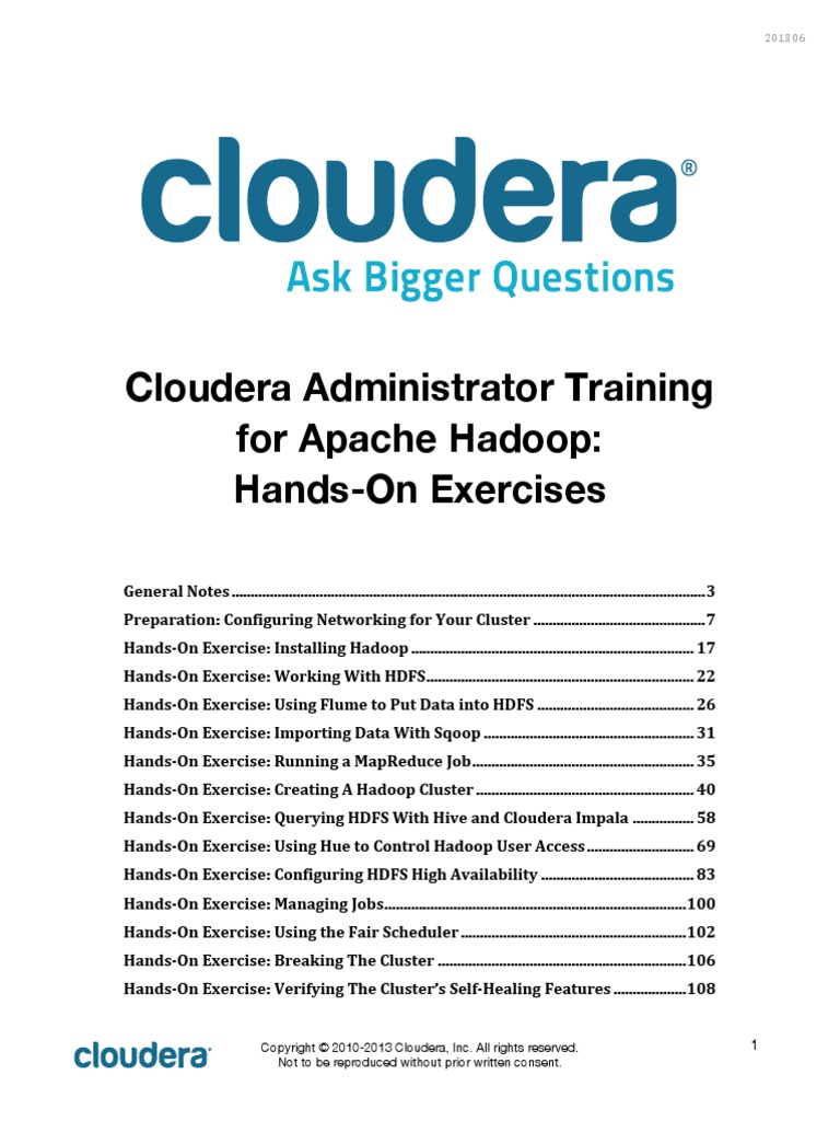 Administrator Exercise Instructions 201306 Apache Hadoop Virtual