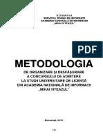 Metodologie Admitere Licenta ANIMV