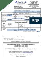 Sep 2016 Class Schedule