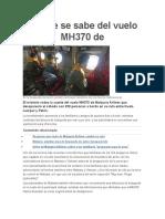 Lo Que Se Sabe Del Vuelo MH370 De