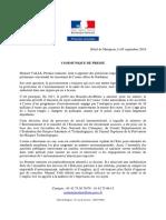 05.09.2016 Communique de Presse de Manuel Valls Premier Ministre - Usine Alteo de Gardanne