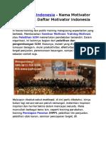 Motivator Indonesia, Nama Motivator Indonesia, Daftar Motivator Indonesia