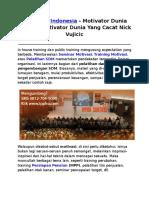 Motivator Indonesia, Motivator Dunia Terbaik, Motivator Dunia Yang Cacat Nick Vujicic