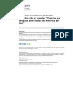 Corpusarchivos 1335 Vol 4 No 2 Introduccion Al Dossier Fuentes en Lenguas Amerindias de America Del Sur