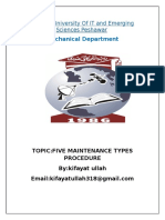 PROCEDURES OF MAINTAINANCE MANAGEMENT