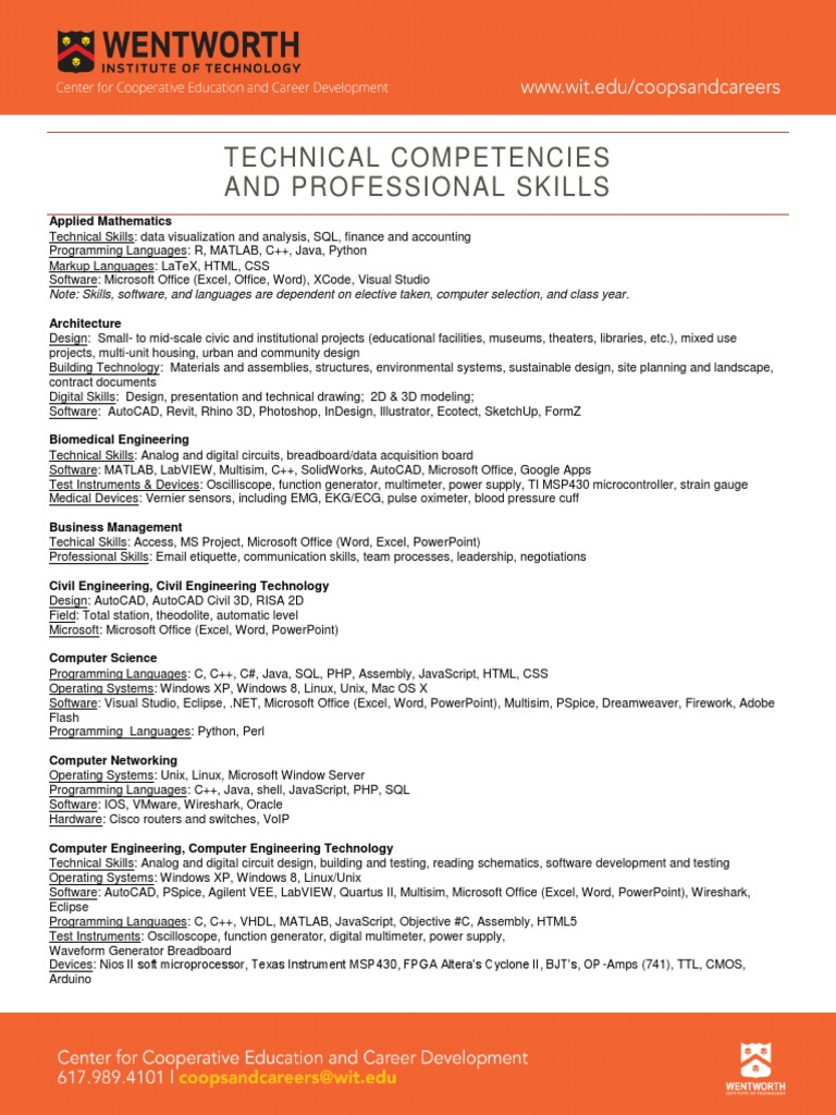 technical competencies and professional skills microsoft office operating system