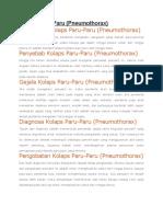 Kolaps Paru (pneumotoraks)