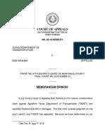 Texas Dep't of Transportation v. Hankins, No. 01-14-00299-CV (Tex. App. Aug. 31, 2016)